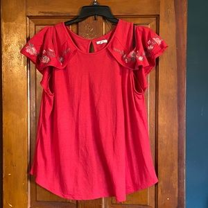 Maurices red cold shoulder top sz XXL